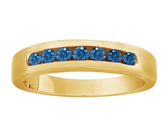 Blue Diamond Wedding Band 14K Yellow Gold 0.38 Carat 7 Stone Canal Set Handmade Bridal Band