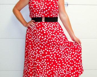 Vintage 1980's Volup Pinup Hipster Red & White Polka Dot Dress. Scarlett Label. Size 16 1XL