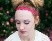Hot Pink Daisy Headband, Hippie Headband, Daisy Hair Band, Flower Headband, Floral Headband, Festival Headband, Wedding Headpiece