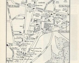 Karachi Pakistan Map, City Map, Street Map, 1950s, Black and White, Retro Map Decor, City Street Grid, Historic Map
