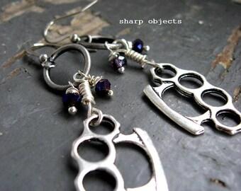 Buck Down - miniature silver metalwork brass knuckles, purple crystals & hoop dangle earrings
