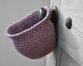 Orchid Hanging Storage Basket Office Organizer Doorknob Purple Catchall Crocheted Decor Door Knob  Supply Holder
