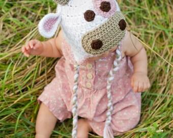 Crochet Pattern, Cow Hat - Instant Download