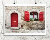 france photography, Bretagne country town street, 8x12 photo, travel photography, french home decor, old window print, stone, red, doors art