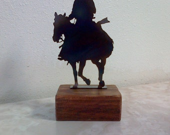 Cowboy and Horse Paperweight Shelf Decoration Reclaimed Wood.