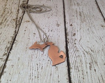 Michigan Necklace Personalized with Heart Copper Detroit Traverse City Saginaw Grand Rapids hand stamped unisex style MI Pure Michigan