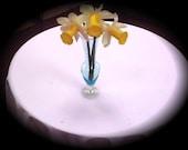 Vintage Etched Pale Blue Bud Vase