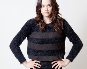 Striped, Fuzzy, Black, Cropped Sweater