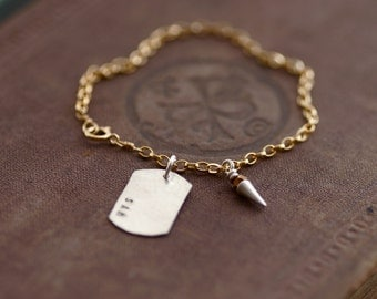 Sterling and 14kt Gold Fill Charm Bracelet - Dog Tag and Spike on Chain - Customized Stamping Available - 925