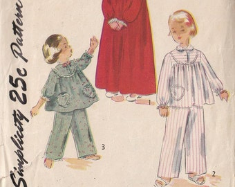 Vintage Sewing Pattern 1950 Girls'  SleepwearTwo Piece Pajamas Gathered Top and Pants Nightgown Size 6