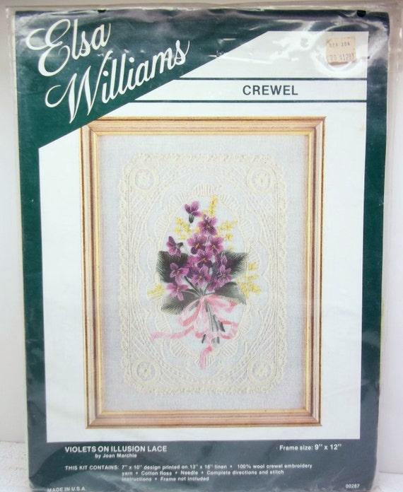 Elsa williams crewel embroidery kit violets on illusion lace
