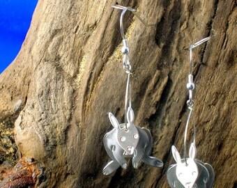 Silver Rabbit Earrings, 3D Rabbit Earrings, Sterling Silver Earrings, Rabbit Jewellery, Handmade, 925 Silver, Rabbits, Bunnies,