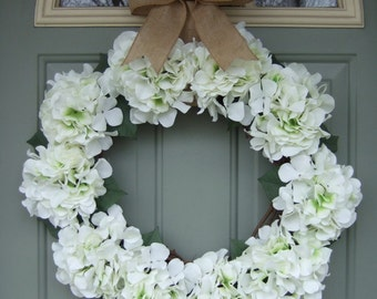 Spring Wreath - XL Large Spring Hydrangea Wreath - Spring Door Wreath