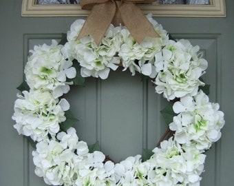 Summer Wreath - XL Large Summer Hydrangea Wreath - Summer Door Wreath