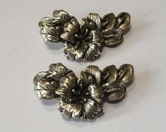 Tibetan Silver - Floral Centerpiece - 2 pieces