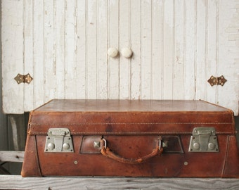 Antique Heavy Leather Suitcase Motoring Trunk Sahib Case Hegaro England -  Sale was 278.00