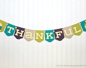 THANKFUL Banner : Modern Mix Thanksgiving Banner | Turkey Day Sign | Holiday Decoration with Feathers & Art Deco Panel | Tribal Feather