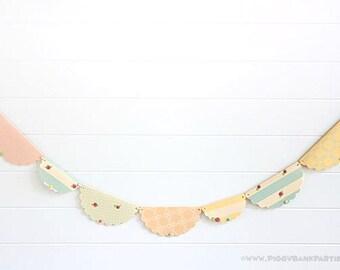 Shabby Chic Garland : Vintage Rose Birthday Decoration   Tea Party Decoration   Bridal Shower   Baby Shower   Rustic Wedding Decoration
