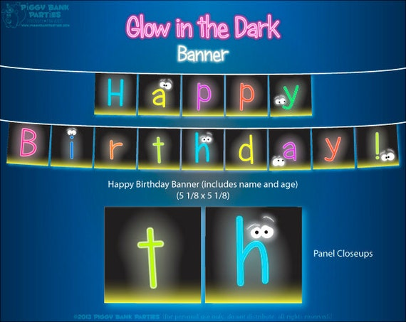 Glow in the Dark Banner - DIY Printable Happy Birthday Banner // PDF File // Printed by You