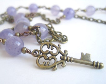 Lavender Jade Key Necklace / Brass Key Pendant / Antique Brass Gemstone Necklace / Semi Precious Stone