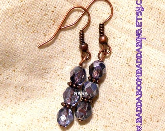 Lavender Partial Metallic Dangle Earrings Surgical Steel French Hooks Option