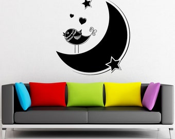 Vinyl Wall Decal Sticker Bird on the Moon 1346m