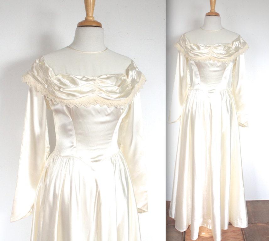 1940s dress ivory satin vintage wedding
