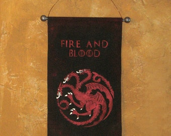 "Hand Painted  ""Fire and Blood"" House Targaryen Canvas Banner - Game of Thrones - Three Headed Dragon - Sigil - Wall Art - Sign"
