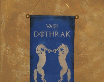 "Hand Painted Dothraki Canvas Banner - ""Vaes Dothrak"" - Game of Thrones - Blood of my Blood - Khal Drogo - Horse Lords"