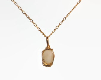 Wire Wrapped 2.64ct Ethiopian Opal 14K Rolled Yellow Gold