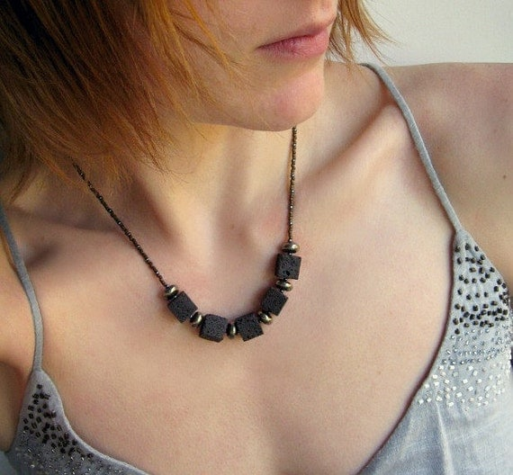 Rustic Modern Necklace, lava stone necklace, lava rock cube jewelry with pyrite