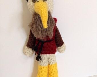 Leonardo da Vinci Crane, crochet crane doll, crocheted artist doll