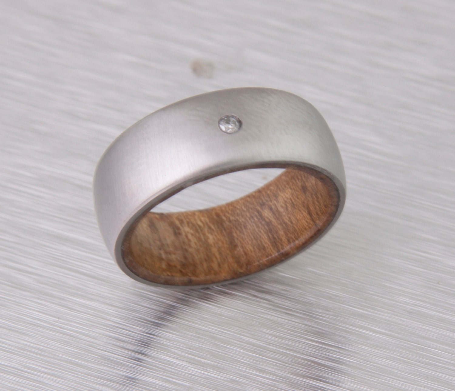 mens wood wedding band with titanium ring ring for
