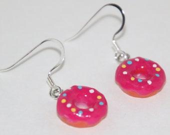 Pink Sprinkled Donut Round Dangle Earrings