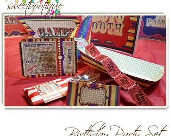 Vintage Fair, Fete, Carnival or Circus  Mini Birthday Party Set - Printable - Customised - Downloadable
