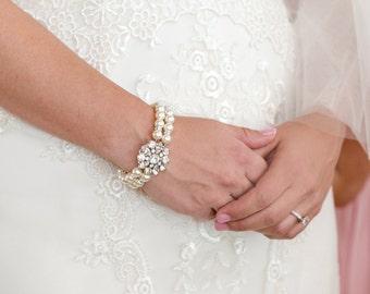 ivory swarovski pearl and crystal Bracelet Statement Bridal Bracelet Bridal Cuff Wedding Rhinestone Bracelet swarovski crystal SAVANNAH