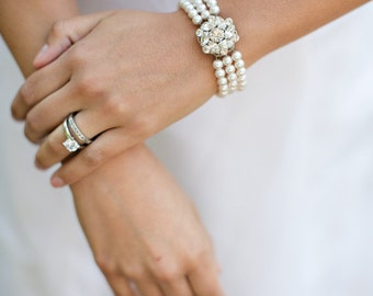 Bridal Bracelet, Rhinestone Bridal Bracelet, Swarovski Bridal Bracelet, pearl Bridal Bracelet, Wedding Pearl bracelet, Bridal cuff, NATALEE