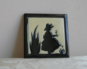 Vintage Ceramic Tile Silhouette Girl Picking Flowers Wall Art by National, Glossy Black & Cream, Little Gardener Baby Nursery