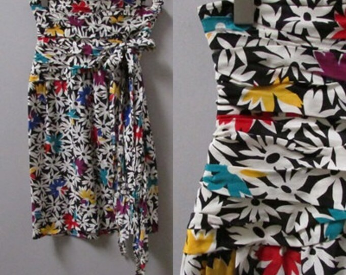 upcycled color abstract flower print extreme high waist vintage 80s skirt - small medium