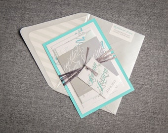 """Blue and Silver Invitation, Winter Wedding Invitation, Calligraphy Wedding Invites, Raffia Invitation Suite  - """"Sweeping Script"""" FP-1L-v1"""