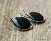 Sterling Silver and Moss Agate Drop Earrings in Wire Wrapping / Green Drop Earrings