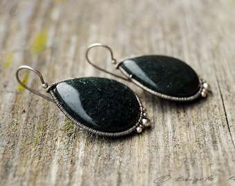 Moss agate earrings, Sterling Silver Drop Earrings, Wire Wrapping earrings, Green Drop Earrings, Moss earrings, Natural jewelry