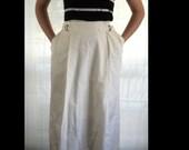 Cream 1980s Preppy Ralph Lauren Maxi Skirt