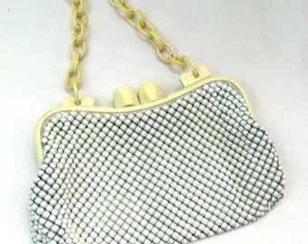 Whiting and Davis Alumesh Purse - Vintage 1940s Ivory Aluminum Bubble Mesh Evening Clutch w/ Acrylic Chain Strap