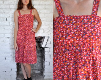 Vintage 70s/80s Red Ditsy Floral Cotton Sundress Size Small