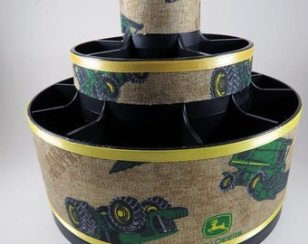 FARM COUNTY- Green Tractors - Altered Pampered Chef Tool Caddy - Make up organizer