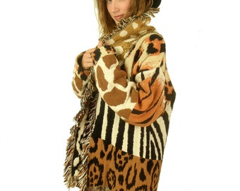 VTG 80s Avant Garde SAFARI Animal Print Fringe Knit Jacket Coat // Leopard, Giraffe, Zebra and more