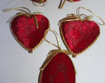 Heart  Ornaments Red and Gold Velvet Made in Taiwan -Set of 5