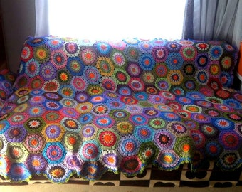 Crochet Hexagonal Granny Square Blanket Afghan Blanket Traditional Sofa Throw Home and Living Accessories Gift Ideas Made to Order