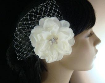 Beach wedding bridal flower hair clip / RHINESTONE STARFISH ivory flower hair clip with russian netting / starfish hair clip bridal starfish